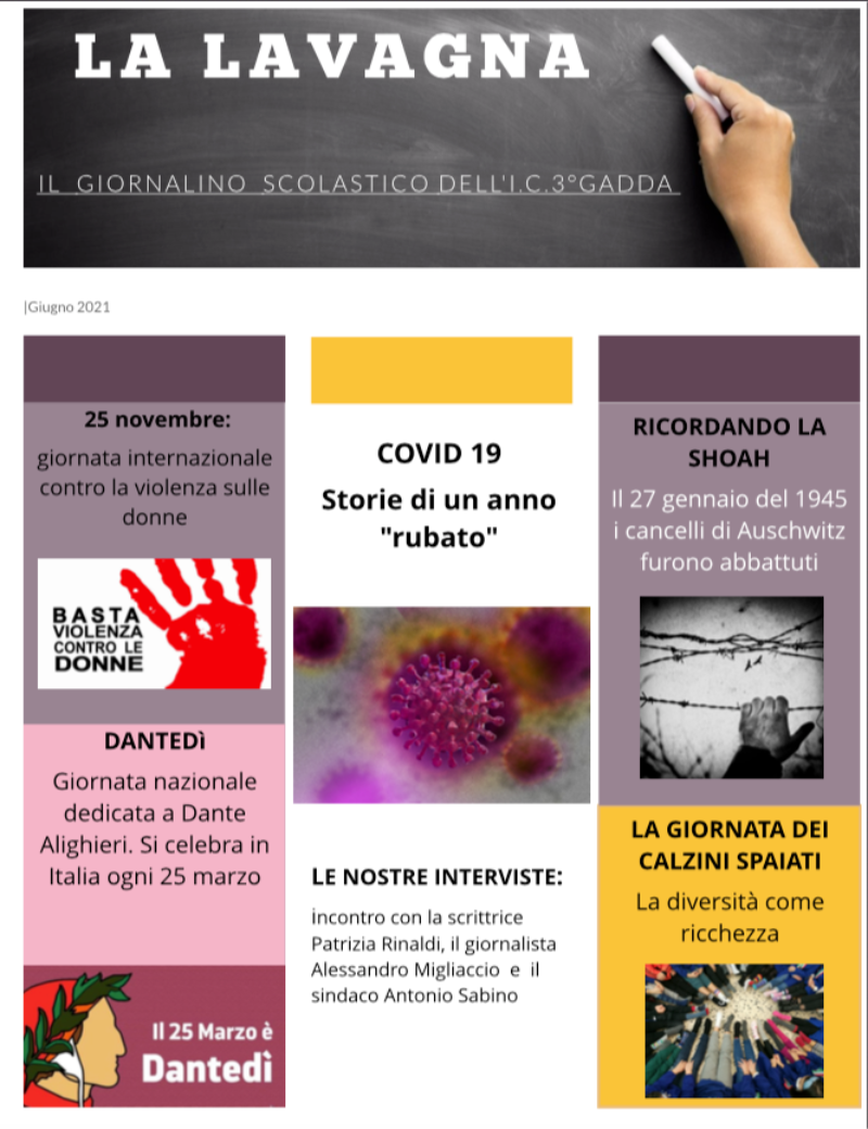 LA LAVAGNA 2021 giornalino scolastico dell'IC T...