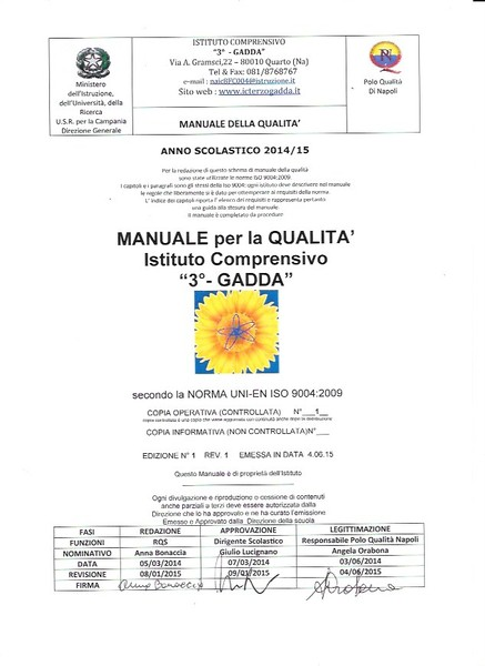 manuale qualità 2015